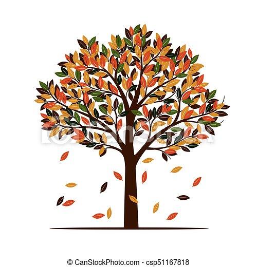 Color Autumn Tree Vector Illustration