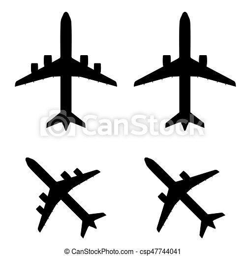 Color, avión, conjunto, negro, ilustración. Conjunto, color ...