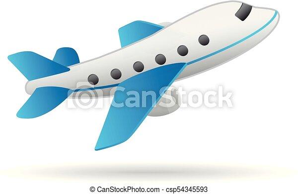 Color, avión, -, icono. Transporte, viaje, color., aviación, avión ...