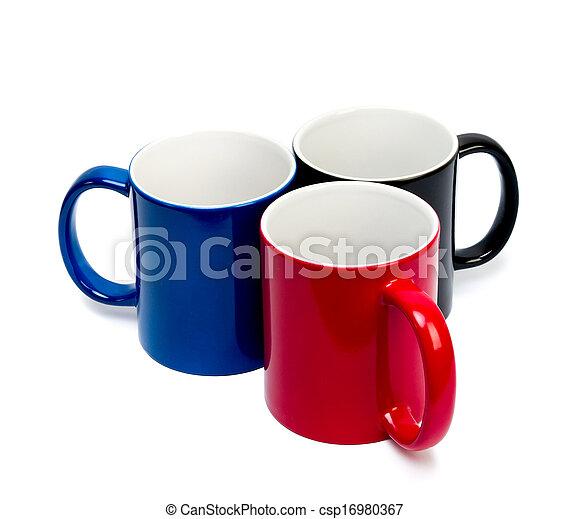 Copas de cerámica color en un trasero blanco - csp16980367