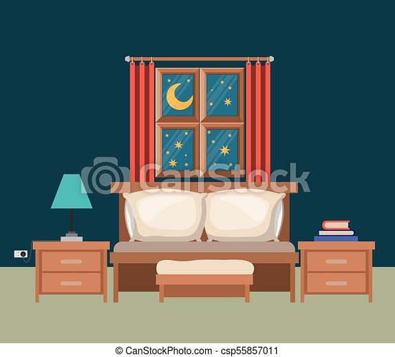 Color Background Of Bedroom With Window In The Night Landscape View