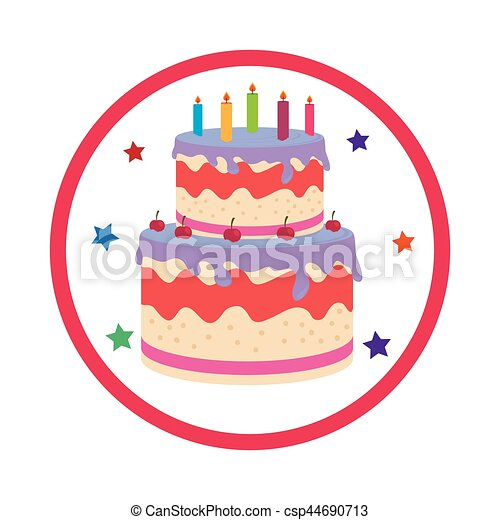 Color background with birthday cake vector illustration vector clip