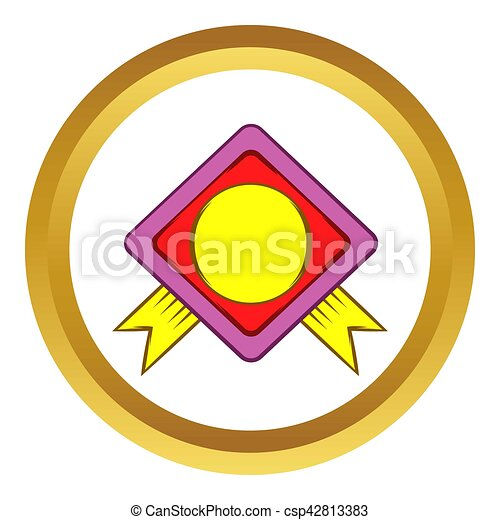 Color badge with yellow ribbons icon - csp42813383