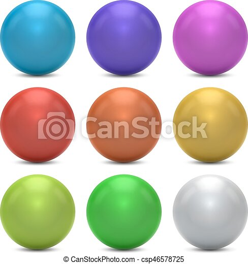 Color balls vector set isolated on white background. - csp46578725