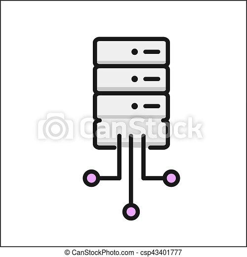 color, base de datos, red, icono - csp43401777