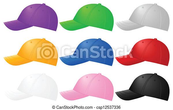 Color baseball caps. Color baseball caps ob white background. vector ... 88808993ee0