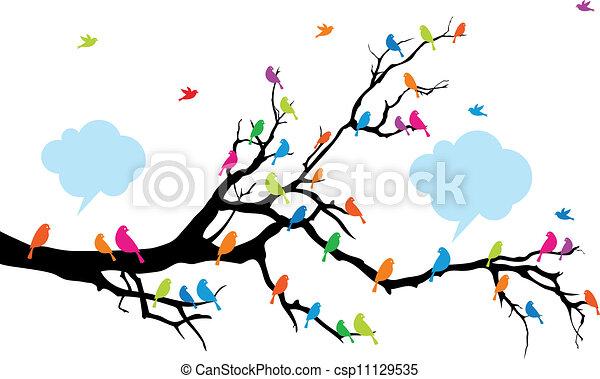 Color birds on tree, vector - csp11129535