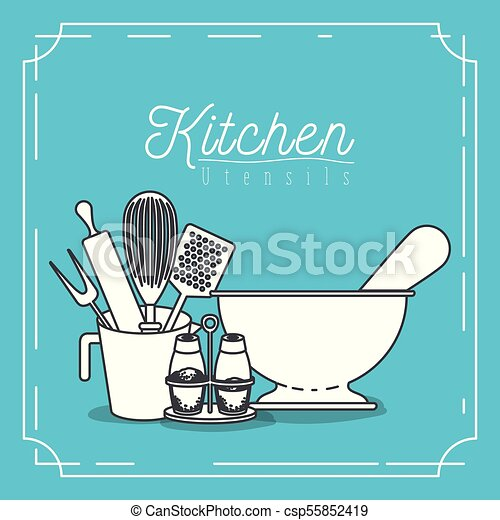 Color Blue Background With Decorative Frame Vintage And Set Silhouette Kitchen Utensils