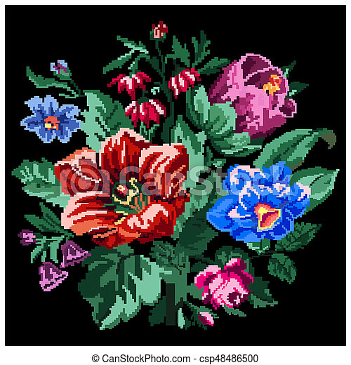 Color Bouquet Of Wildflowers Lilia Bellflower Barberry Flower Rose And Cornflowers On The Black Background