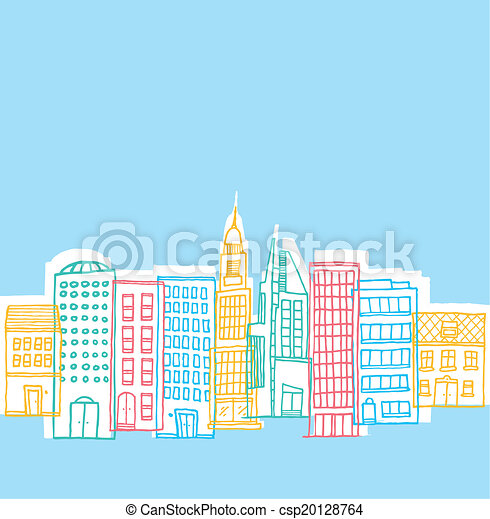 Color buildings in playful city - csp20128764