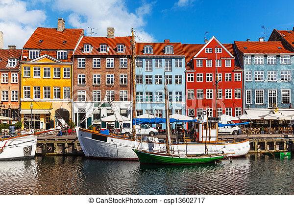 Color buildings of Nyhavn in Copehnagen, Denmark - csp13602717