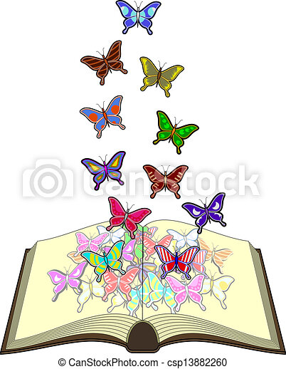 Color butterflies book. Creative design of color