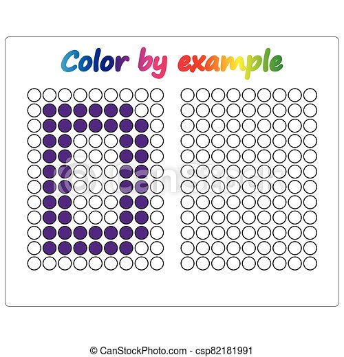 Color by example. Learning alphabet, letters. worksheet for preschool children, kids. ABC Coloring Book for children. Puzzle for children. - csp82181991