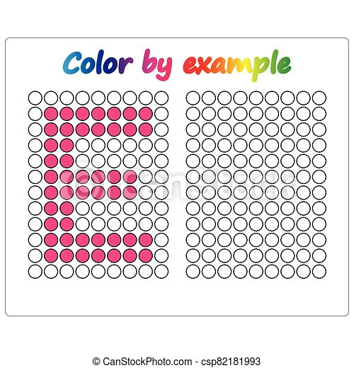 Color by example. Learning alphabet, letters. worksheet for preschool children, kids. ABC Coloring Book for children. Puzzle for children. - csp82181993
