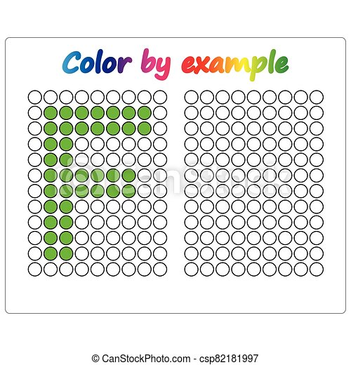 Color by example. Learning alphabet, letters. worksheet for preschool children, kids. ABC Coloring Book for children. Puzzle for children. - csp82181997