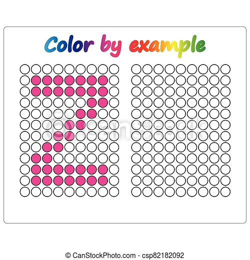 Color by example. Learning alphabet, letters. worksheet for preschool children, kids. ABC Coloring Book for children. Puzzle for children. - csp82182092