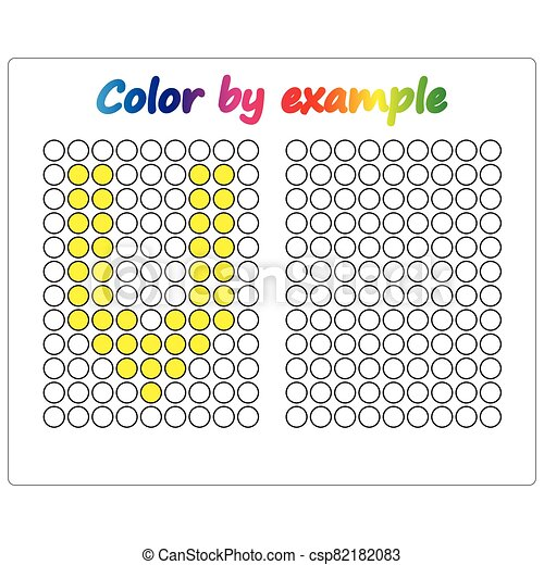 Color by example. Learning alphabet, letters. worksheet for preschool children, kids. ABC Coloring Book for children. Puzzle for children. - csp82182083