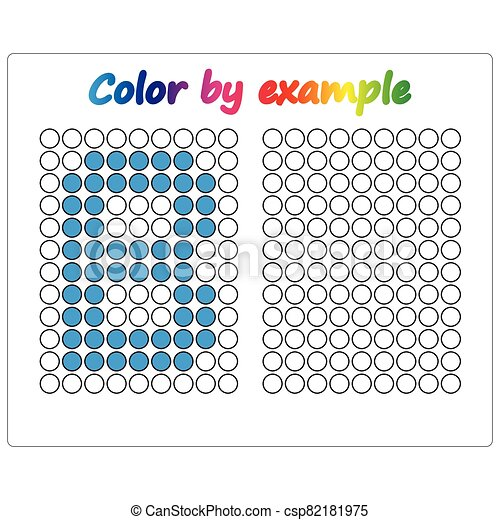 Color by example. Learning alphabet, letters. worksheet for preschool children, kids. ABC Coloring Book for children. Puzzle for children. - csp82181975