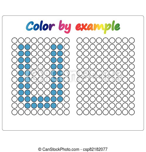 Color by example. Learning alphabet, letters. worksheet for preschool children, kids. ABC Coloring Book for children. Puzzle for children. - csp82182077