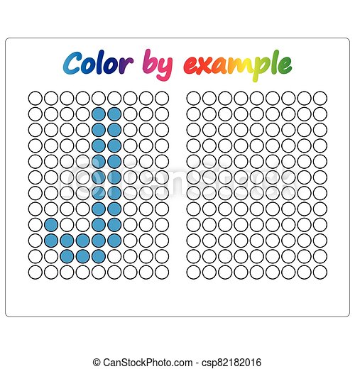 Color by example. Learning alphabet, letters. worksheet for preschool children, kids. ABC Coloring Book for children. Puzzle for children. - csp82182016