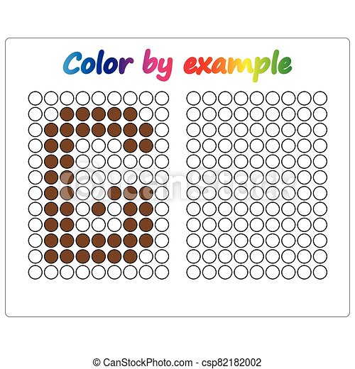 Color by example. Learning alphabet, letters. worksheet for preschool children, kids. ABC Coloring Book for children. Puzzle for children. - csp82182002
