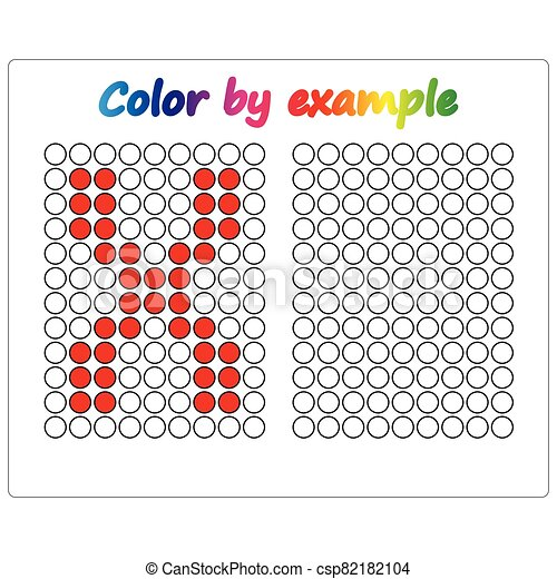 Color by example. Learning alphabet, letters. worksheet for preschool children, kids. ABC Coloring Book for children. Puzzle for children. - csp82182104