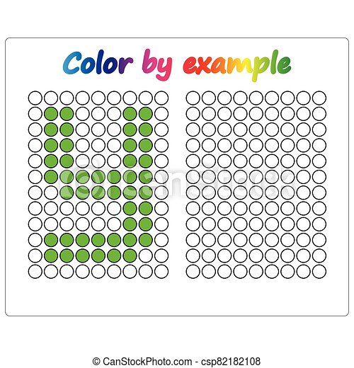Color by example. Learning alphabet, letters. worksheet for preschool children, kids. ABC Coloring Book for children. Puzzle for children. - csp82182108