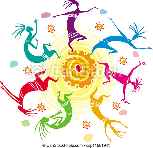 Las figuras de color bailando en un círculo - csp11581941