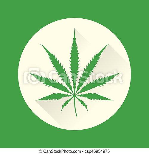 Color Cannabis Vector Marijuana Ilustración Plano