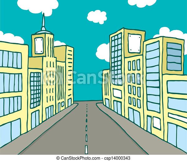 Color cartoon line city - csp14000343