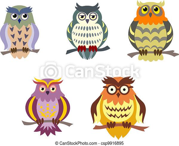 Color cartoon owls - csp9916895