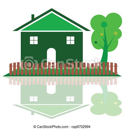 Color Casa árbol Verde Ilustración Color Casa árbol