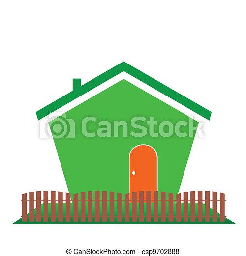 Una casa de color verde - csp9702888