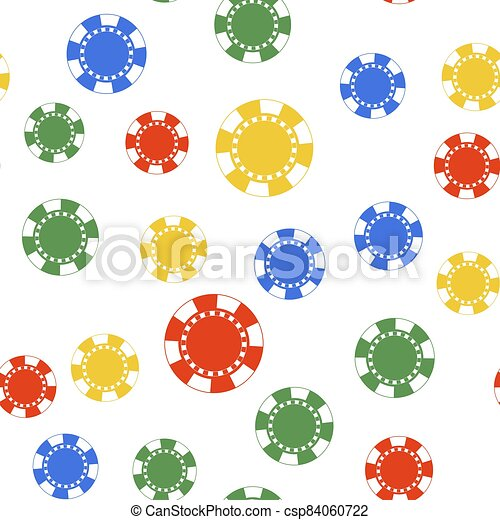 Color Casino chip icon isolated seamless pattern on white background. Vector - csp84060722