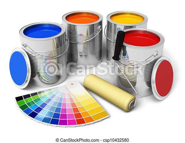 Latas con pintura de color, pincel y guía de color - csp10432580