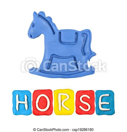 Color children's horse plasticine on a white background - csp19286180