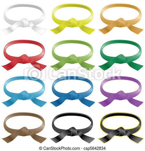 Cinturones de artes marciales de varios colores - csp5642834