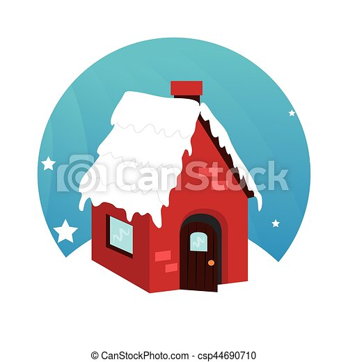 Color Circular Frame With House In Winter Vector Illustration Canstock