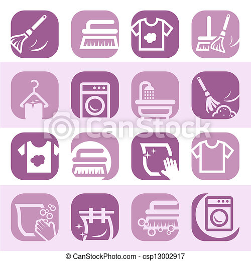 color cleaning and washing icons elegant colorful cleaning and