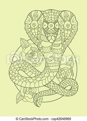 Clip art vectorial de color cobra vector serpiente dibujo