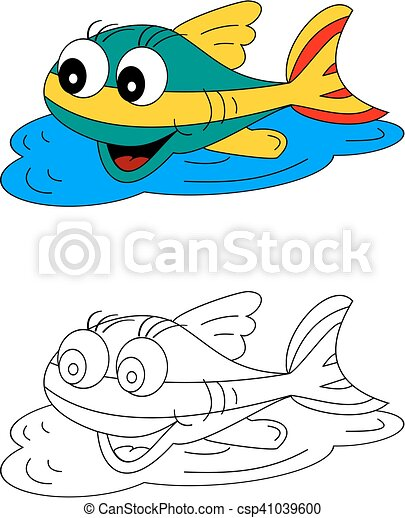Color coloring book for young children - colorful fish - vector.