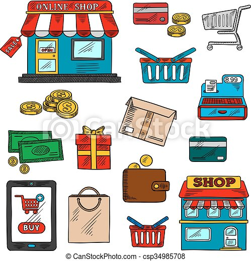 Compras, negocios y iconos al por menor - csp34985708