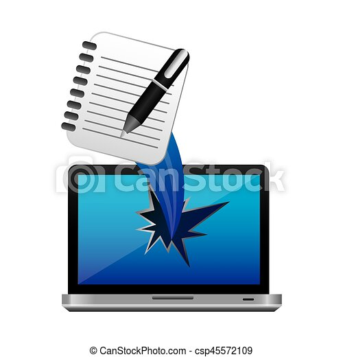 color computer notebook, pen with hole icon - csp45572109