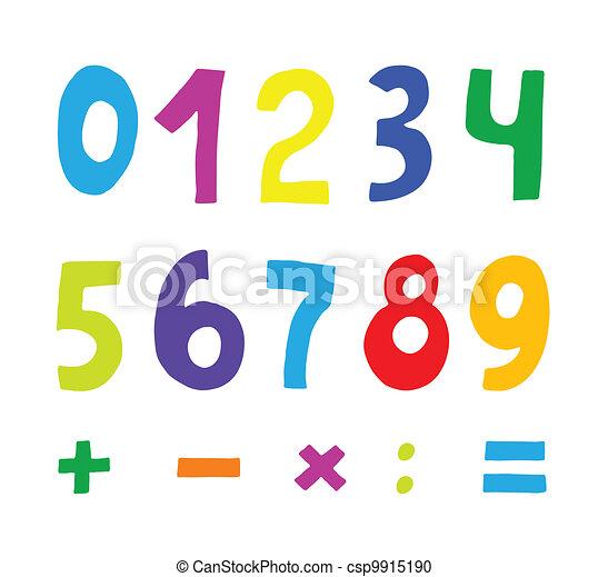 Color Conjunto Numeros Color Blanco Conjunto Numeros Vector