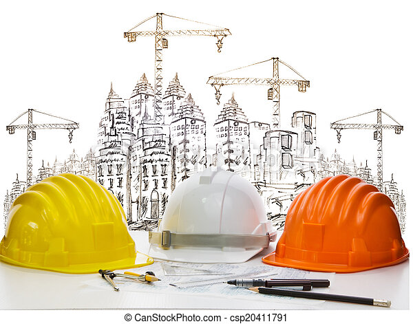 Color, construcción, seguridad, tres. Casco, protector, color, tres ...