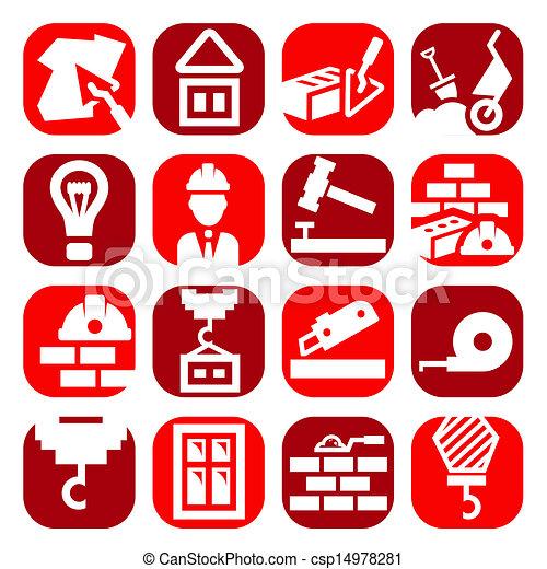 color construction icons set - csp14978281