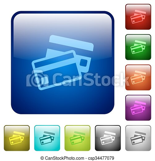 Color credit card square buttons - csp34477079