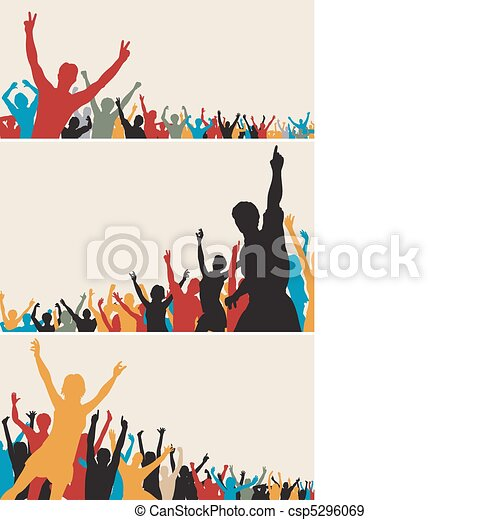 Color crowd silhouettes - csp5296069