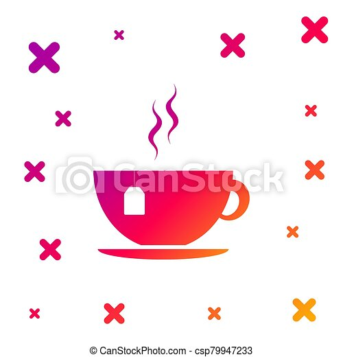 Color Cup with tea bag icon isolated on white background. Gradient random dynamic shapes. Vector Illustration - csp79947233