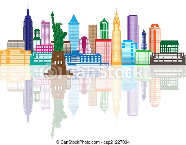 La ilustración de colores de la ciudad de Nueva York - csp21227034